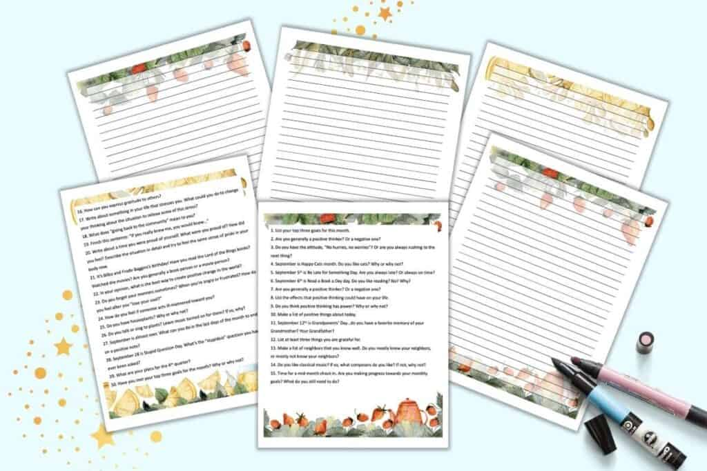 A preview of six pages of September journal printable with a watercolor tea theme. Two pages have 15 journal prompts apiece and four pages are lined journaling pages with watercolor tea clipart.