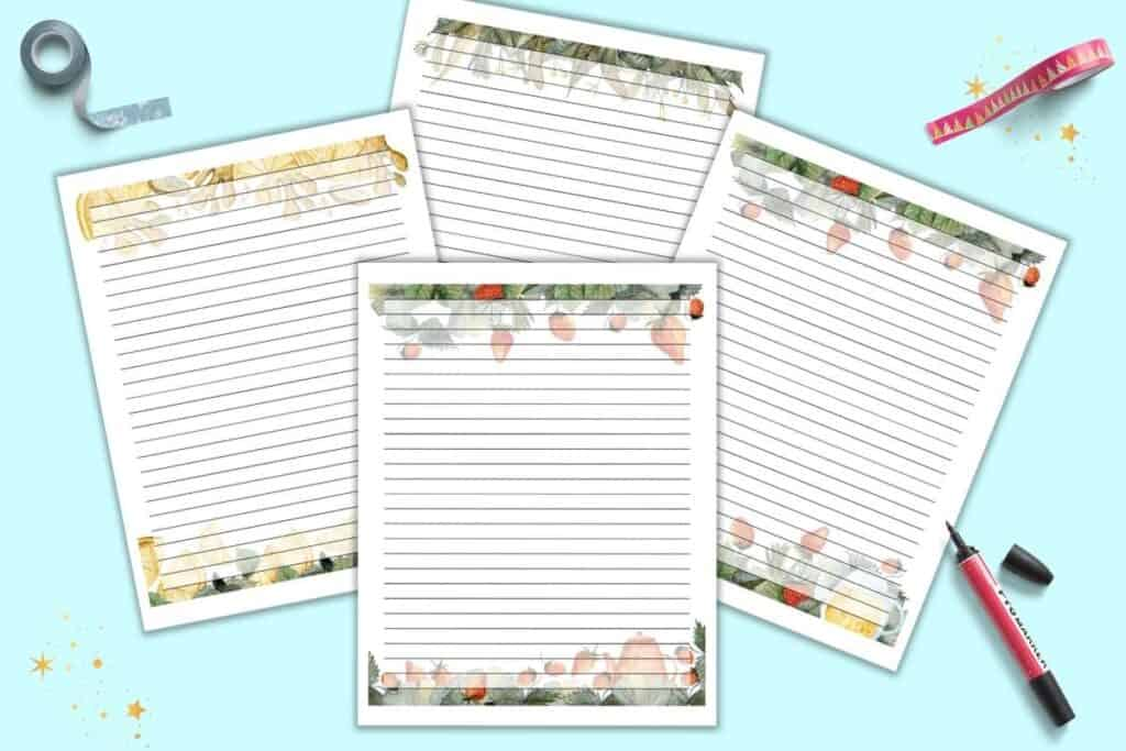 four lined tea themed journal pages with watercolor clipart