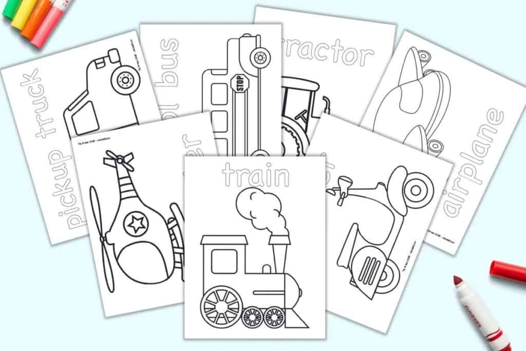 A preview of seven printable vehicle themed coloring pages with: a train, a helicopter, a pickup truck, a school bus, a tractor, an airplane, and a scooter.