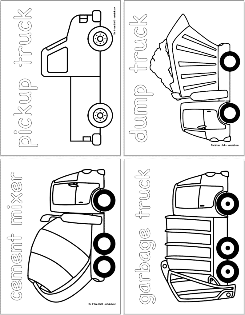 A preview of four vehicle themed coloring pages with: a pickup truck, a dump truck, a cement mixer, and a garbage truck.