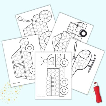 a preview of five vehicle themed dot marker coloring pages including a fire truck, car, dump truck, tractor, and helicopter