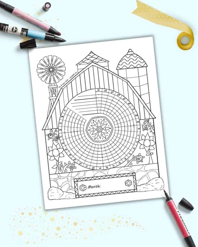 A preview of a folk art barn themed habit tracker with 31 days. The page is in black and white for coloring in and is shown on a light blue background.