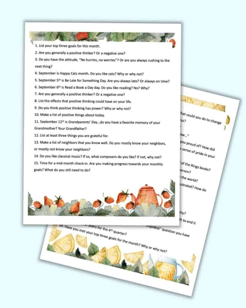 Two pages with tea themed watercolor clipart and 15 journaling prompts for September on each page. There are a total of 30 themed journal prompts.