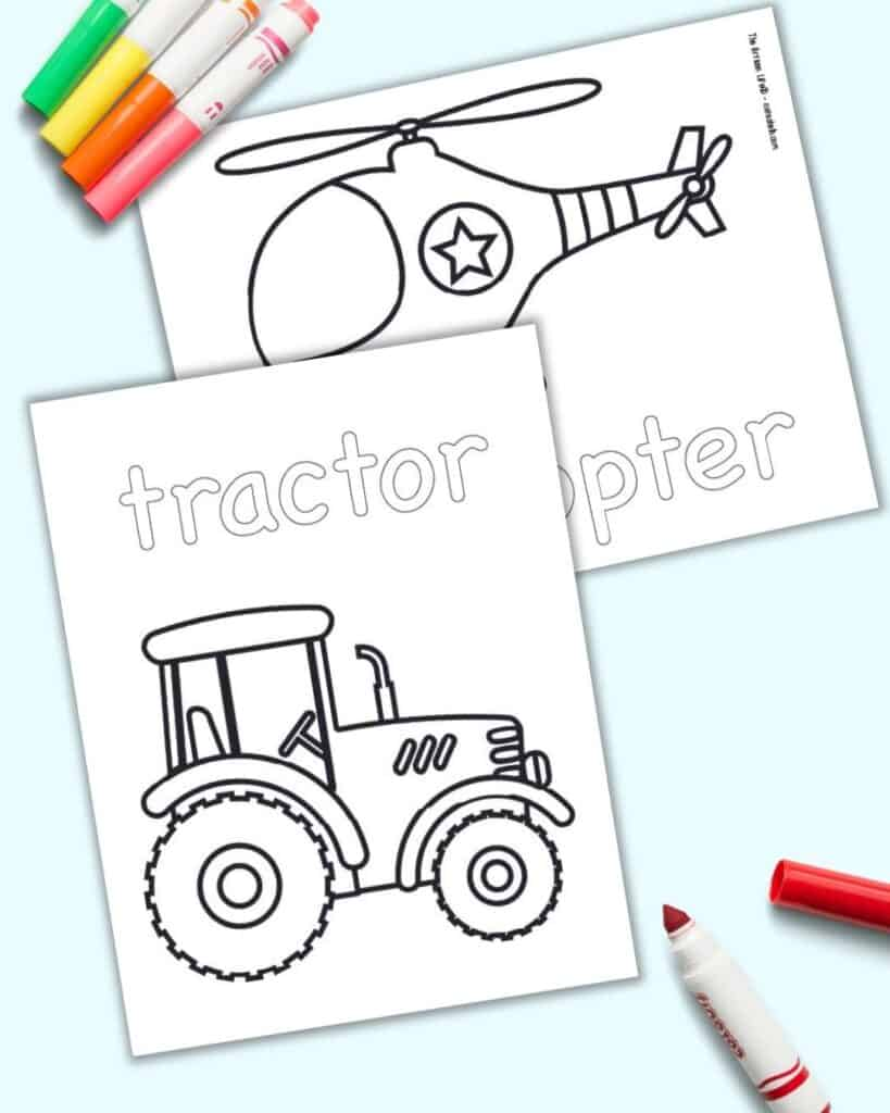 A preview of a tractor coloring page with a helicopter coloring pages. Both pages have the vehicle name and a large image to color.