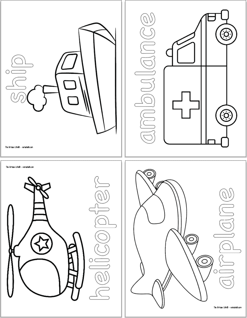 A preview of four vehicle themed coloring pages with: a ship, an ambulance, a helicopter, and an airplane.