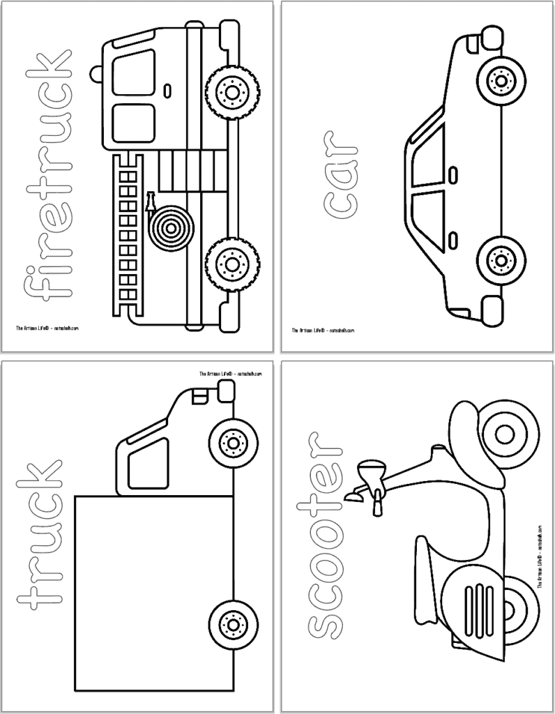 A preview of four vehicle themed coloring pages with: a firetruck, a car, a truck, and a scooter.