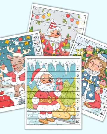 A preview of four Christmas themed number building puzzles. Each page has a full color Christmas image overlaid with lines to cut the image into strips. On the right are numbers 1-5, 1-10, or skip counting by 10s.