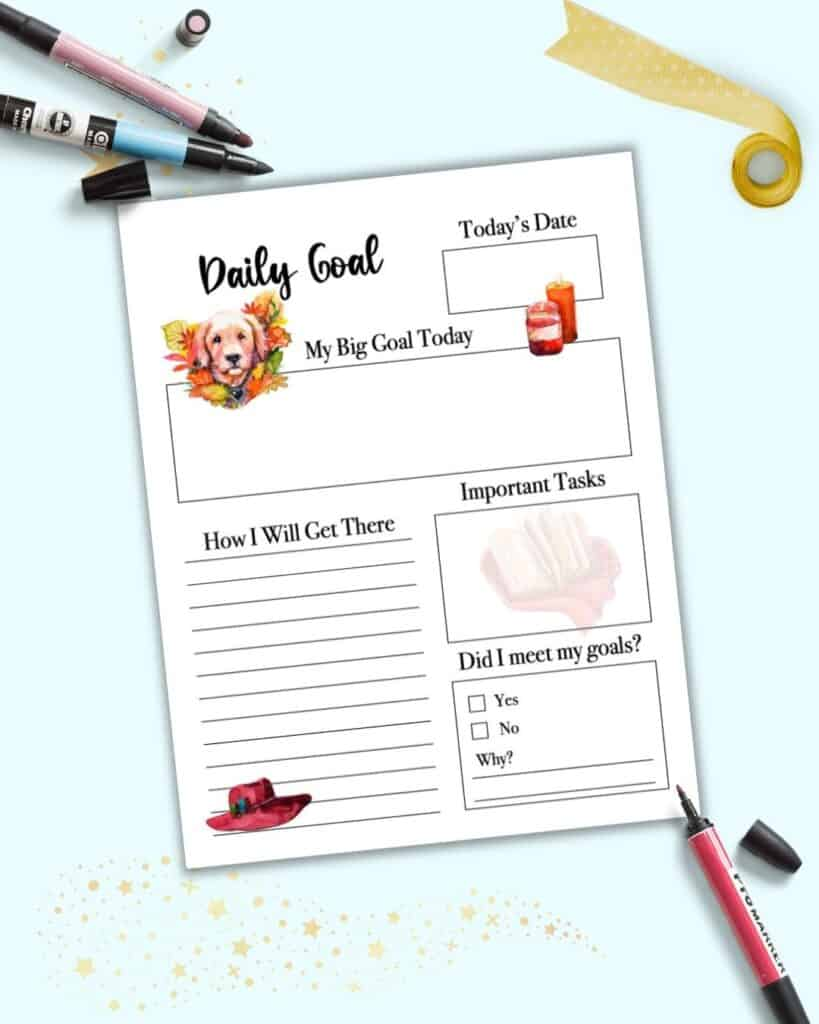 A preview of a daily goal planner page with fall clipart. Images include pumpkin candles, a golden lab with leaves, a fall hat, and a book on a blanket.