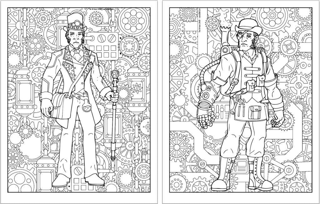 A preview of two steampunk themed coloring pages. Both pages have a detailed background pattern with gears. The page on the left has a man with a cain and the page on the right has a man with a large glove and goggles