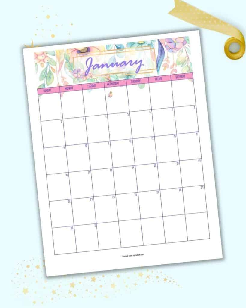 A preview of a January 2022 calendar page with a watercolor floral theme and pastel colors.