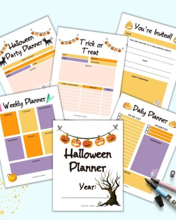 Six pages from a printable Halloween planner. Pages include: a cover page, weekly planner, daily planner, trick or treat planner, party planner, and a printable invitation.