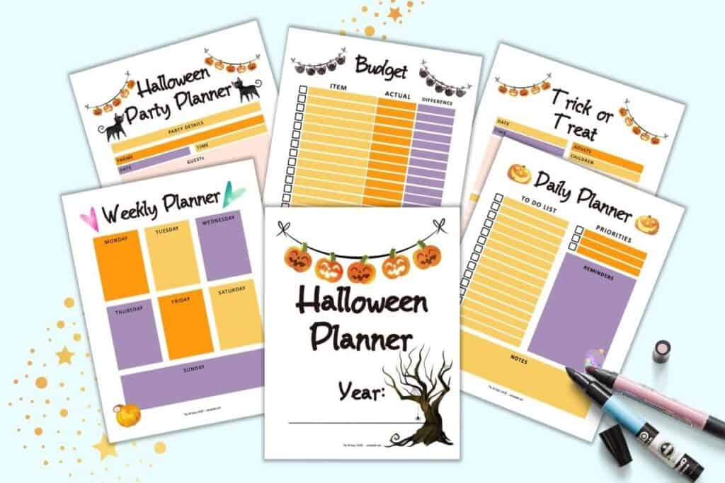 A preview of six pages from a printable Halloween party planner. Pages include a cover page, weekly planner, daily planner, trick or treat planner, budget planner, and Halloween party planner.