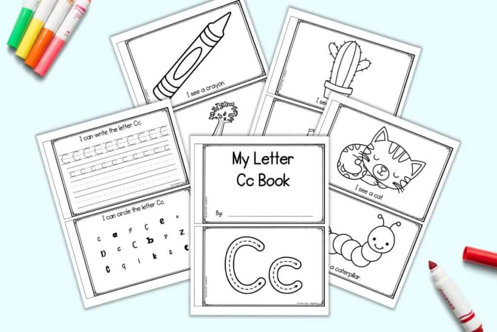 Five pages of printable letter C book for preschoolers and kindergarteners. Each sheet has two pages to cut apart and staple. Pages include: My letter Cc book, correct letter formation graphics, I see a cat, I see a caterpillar, I see a cactus, I see a castle, I see a crayon, I see celery, upper and lowercase tracing lines, and letter indication.