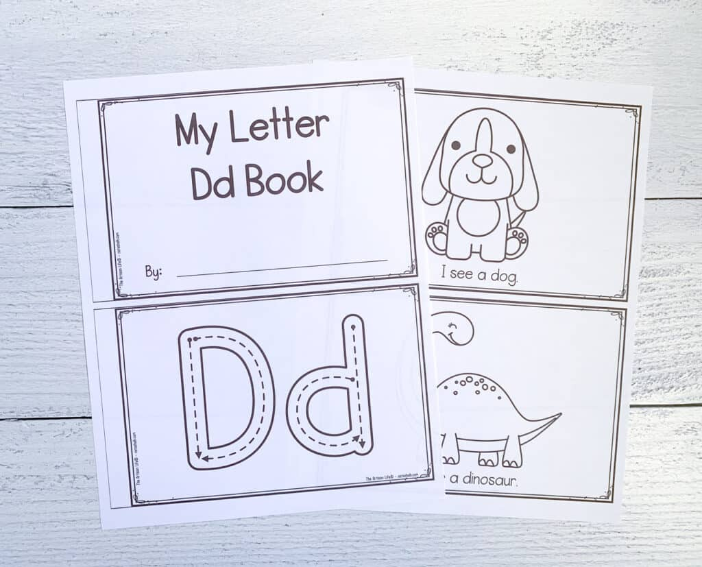 """Two pages from a printable preschool book called """"My letter Dd book."""" The pages show correct letter formation tracing graphics, a dog, and a dinosaur."""