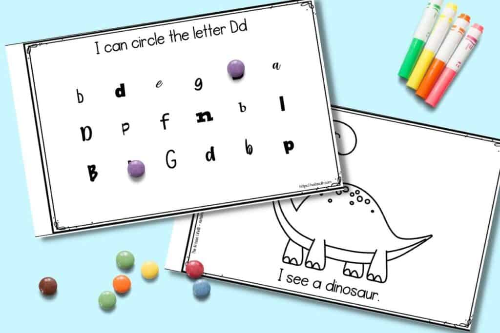 """Two pages from a printable preschool book about the letter D. One page has letters in assorted fonts with round candies covering to letter d's. The other page has a dinosaur to color and the text """"I see a dinosaur"""""""
