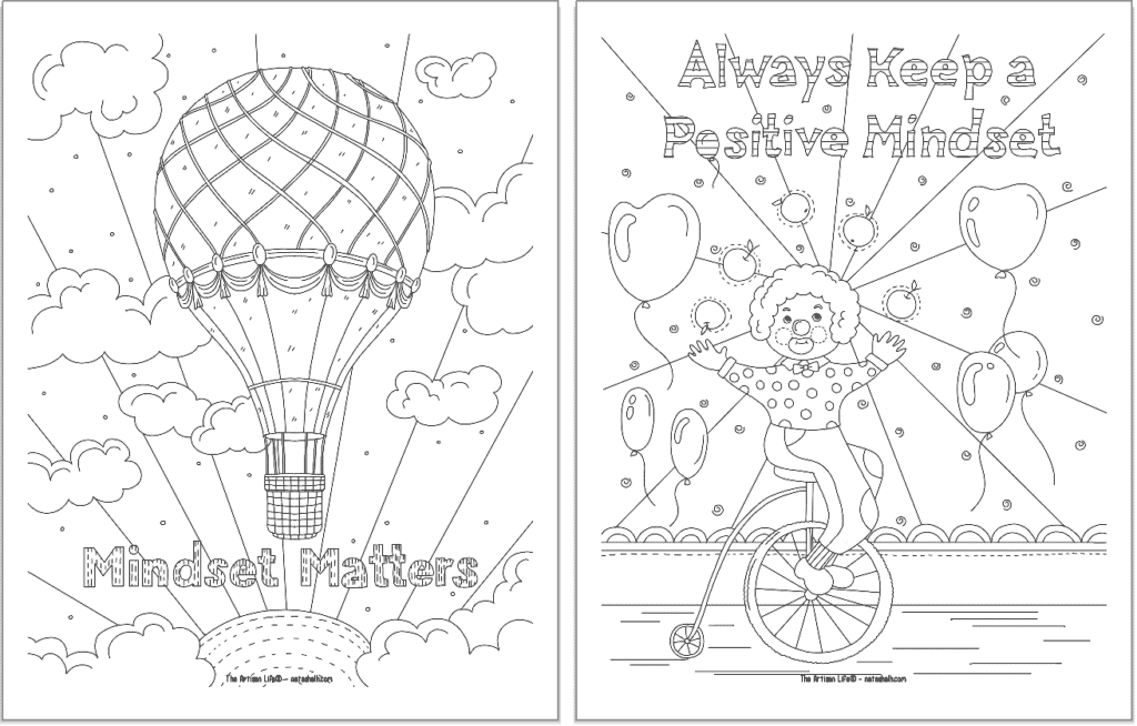 """A preview of two positive mindset coloring pages. On the left is """"mindset matters"""" and on the right is """"alas keep a positive mindset"""""""