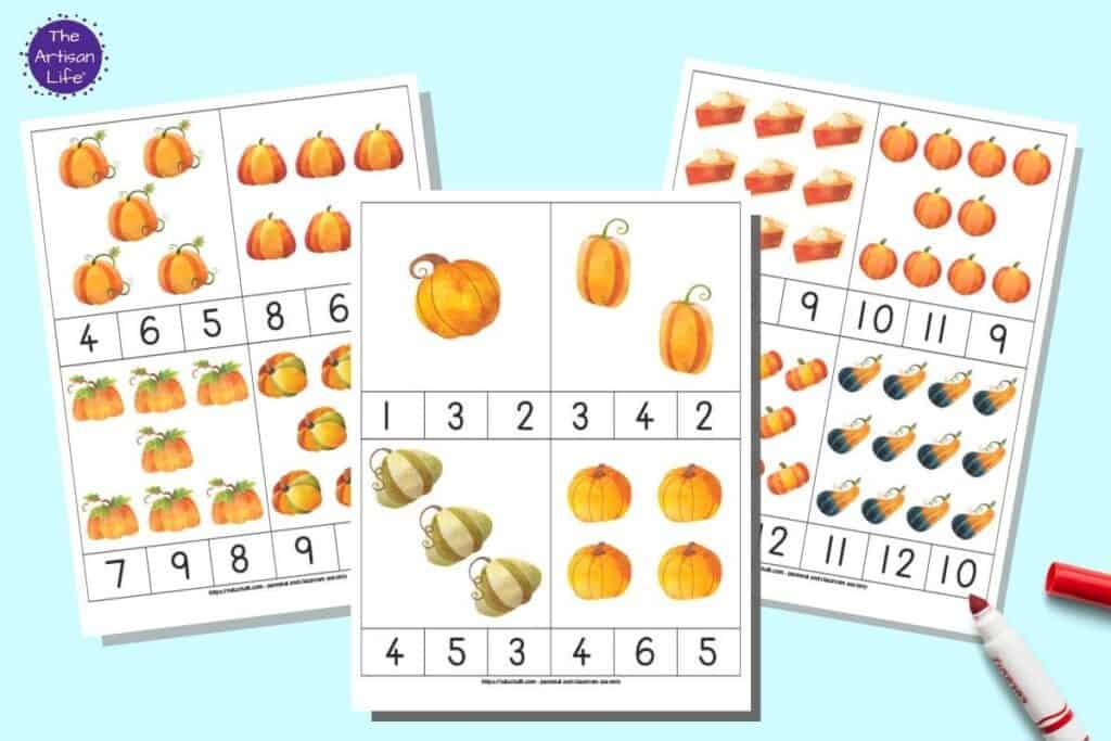 A preview of three sheets of printable count and clip cards for preschoolers.  Each sheet has four counting clip cards with pumpkin art. The individual cards have pumpkins numbers 1-12 and three answer choices to pick from below.
