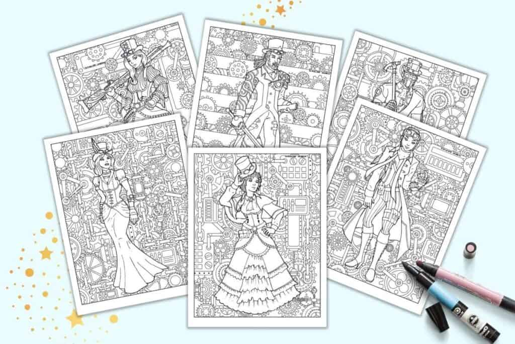 A preview of six steampunk coloring pages featuring men and women on detailed backgrounds with lots of pipes and gears.