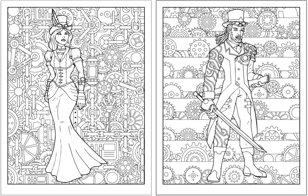 A preview of two steampunk themed coloring pages. Both pages have a detailed background pattern with gears. The page on the left has a woman in a dress and the page on the right has a man with a sword.