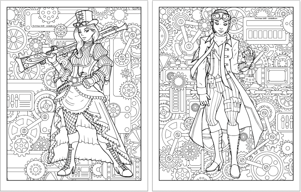 A preview of two steampunk themed coloring pages. Both pages have a detailed background pattern with gears. The page on the left has a woman with a dress and a musket. The page on the right has a girl wearing pants, boots, and goggles.