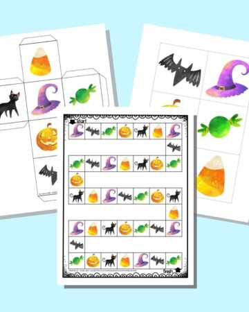 A preview of three pages of Halloween board game printable. One page has the board game, another has a printable die, and the final page has inserts for a gross motor cube