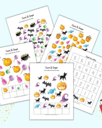 A preview of five pages of I spy count and graph printable with a Halloween theme. Four pages have clip art to count and one page has numbers to fill in to create a graph.