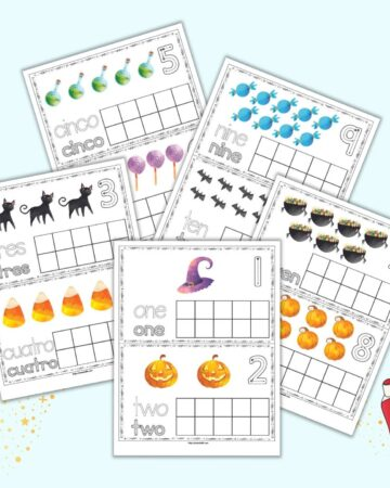 A preview of five printable ten frame pages with a Halloween theme. The pages are in a combination of Spanish and English. Each page has two cards with clip art, correct number formation graphics, and a blank ten frame.