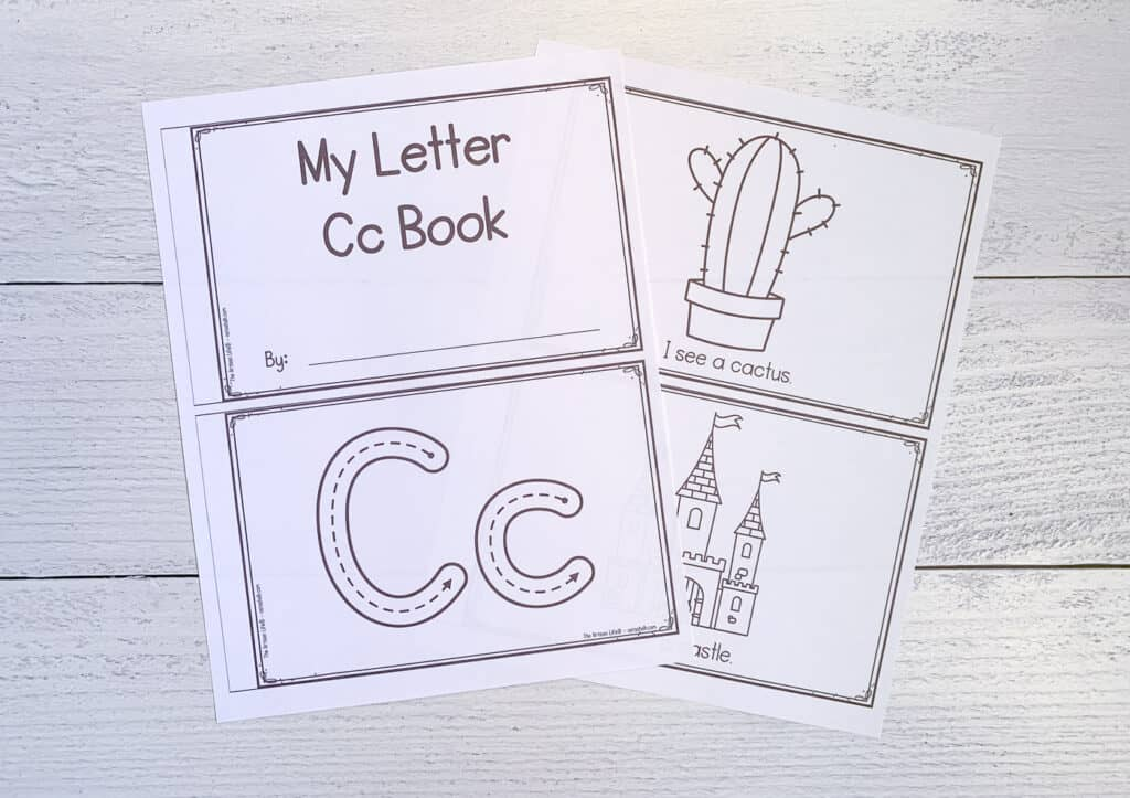 """A preview of two printed sheets to make a printable letter c book for preschool and kindergarten students. Each sheet has two pages to cut apart to form the book. Pages are """"My letter Cc book"""" letter formation graphics, """"I see a cactus"""" with a cactus to color and """"I see a castle"""" with a castle to color."""