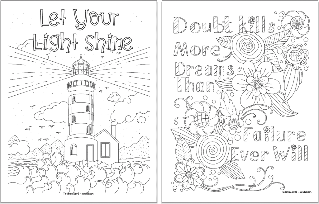 """A preview of two positive mindset coloring pages. On the left is """"let your light shine"""" and on the right is """"doubt kills more dreams than failure ever will"""""""