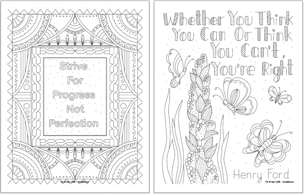 """A preview of two positive mindset coloring pages. On the left is """"strive for progress not perfection"""" and on the right is """"whether you think you can or think you can't, you're right"""""""