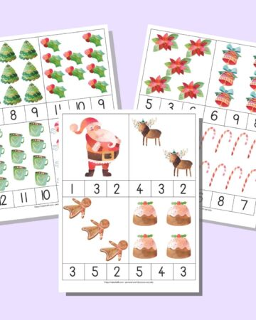 A preview of three sheets of Christmas count and clip cards with numbers 1-12. Each sheet has 4 cards to cut apart. Each card has a quantity of Christmas images 1-12 and three numbers along the bottom. One number correctly matches the quantity of pictures.