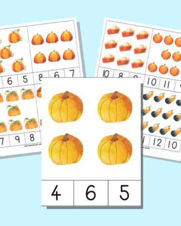 A preview of three sheets of printable count and clip cards for preschoolers. Each sheet has four counting clip cards with pumpkin art. The individual cards have pumpkins numbers 1-12 and three answer choices to pick from below. One number is correct for the number of pumpkins show.