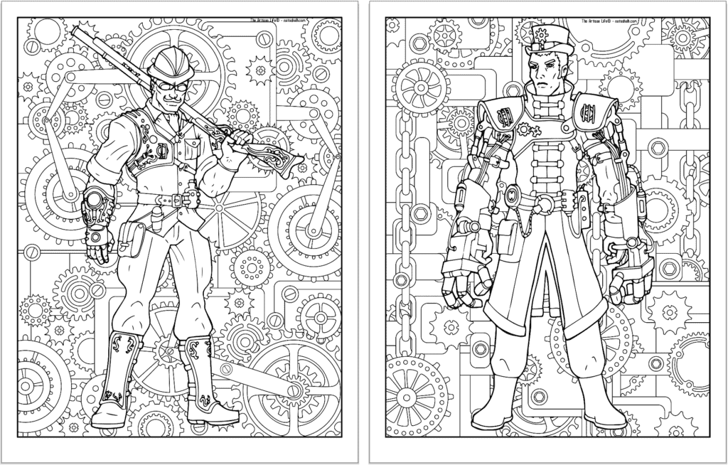 A preview of two steampunk themed coloring pages. Both pages have a detailed background pattern with gears. The page on the left is a man with goggles and leg armor. On the right is a man with large mechanical gauntlets.