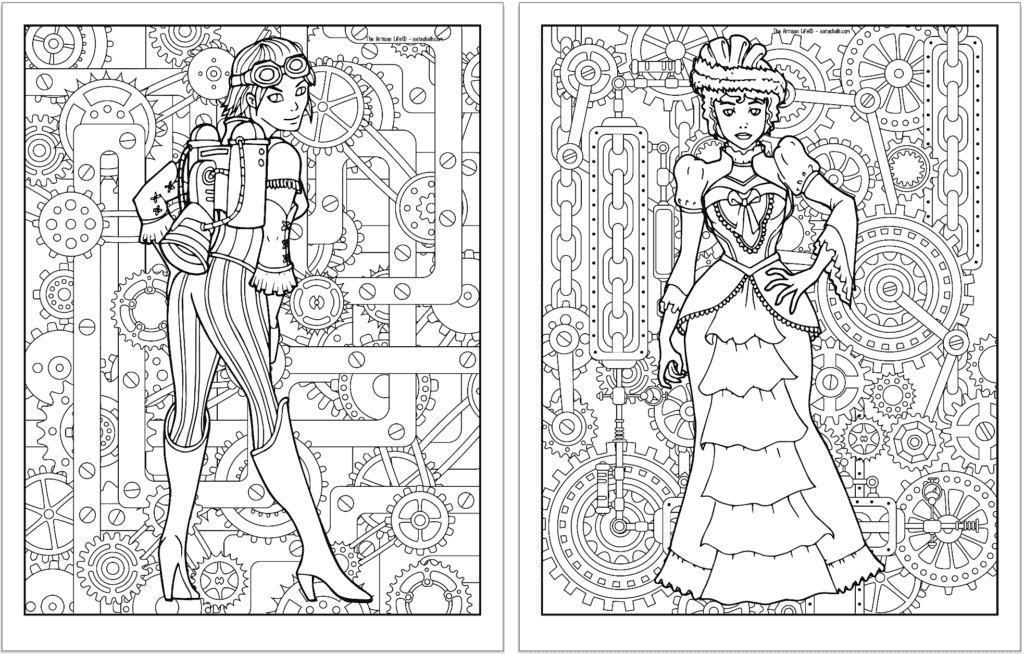 A preview of two steampunk themed coloring pages. Both pages have a detailed background pattern with gears. The page on the left is a girl wearing a jetpack and boots with striped tights. On the right is a woman with a bustle dress and large hat.