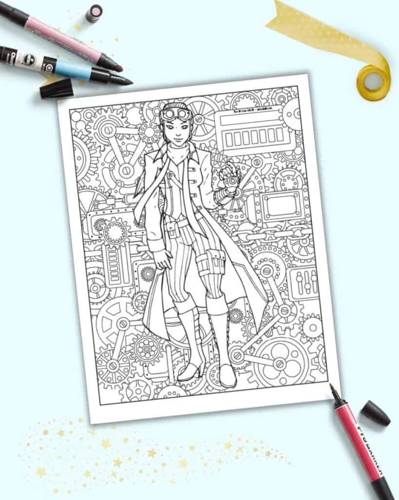 A preview of a coloring page with a steampunk girl wearing pants, boots, and a jacket. She has one gauntlet and a pair of goggles.