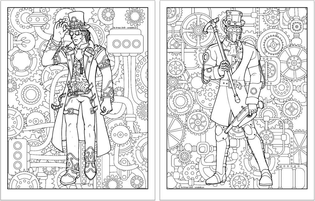 A preview of two steampunk themed coloring pages. Both pages have a detailed background pattern with gears. The page on the left is a man with a topcoat, goggles, and long duster. On the right is a man with a plague doctor mask and cain.