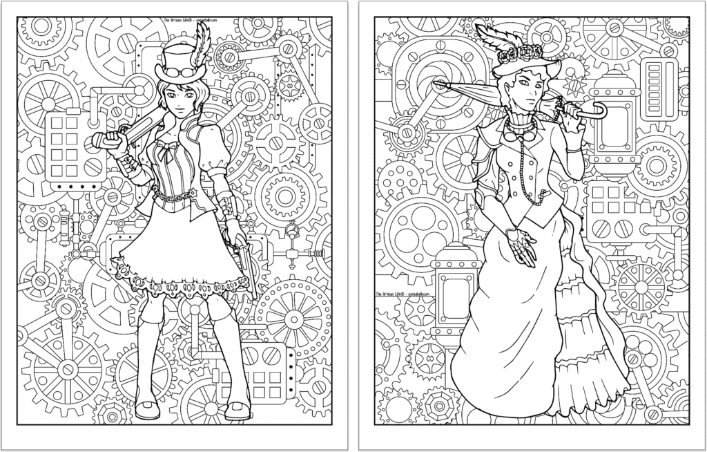 A preview of two steampunk themed coloring pages. Both pages have a detailed background pattern with gears. The page on the left has a woman with a knee length skirt and topcoat. On the right is a woman in a bustle dress with a hat and parasol.