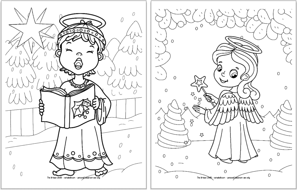 A preview of two printable Christmas angel coloring pages for kids. The angel on the left is singing and holding a songbook. The angel on the right is holding a star.