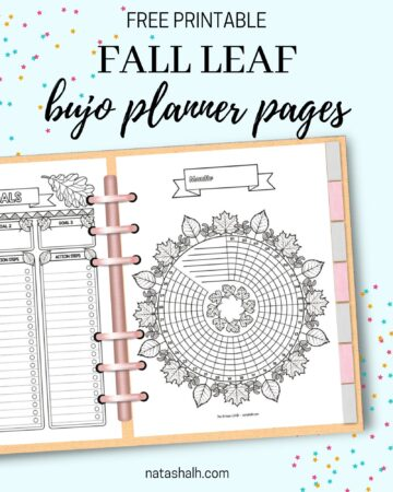 """Text """"free printable fall leaf bujo planner pages"""" above a preview of a printed leaf themed habit tracker and goals tracker in a six ring binder planner."""
