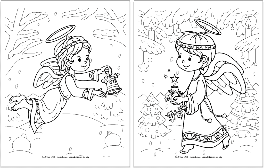 A preview of two printable Christmas angel coloring pages for kids. The angel on the left is flying and carrying a bell. The angel on the right is walking with a candle.