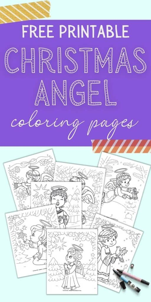 """Text """"free printable Christmas angel coloring pages"""" above a preview of seven printable coloring pages. Each page has a cute Christmas angel on a winter or Christmas background."""