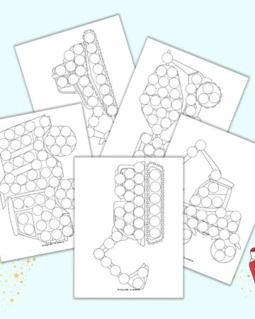 A preview of five printable dot marker coloring pages. Each page has the outline of a construction vehicle filled with blank circles to fill with a dauber style marker.