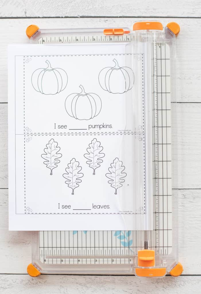 A fall emergent reader counting book printable on a paper trimmer