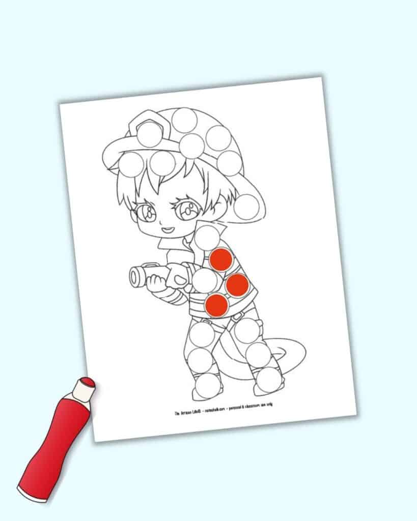 A digital mockup preview of a firefighter dot maker coloring page. It is shown with three circles filled in with red and an illustrated red dauber marker.