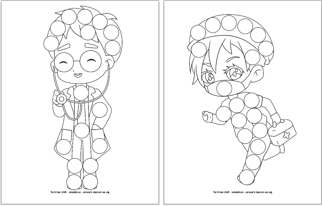 A preview of three printable first responder dot marker coloring pages. Each page has a large first responder with circles to color in with dauber markers. Both pages shown feature a doctor.