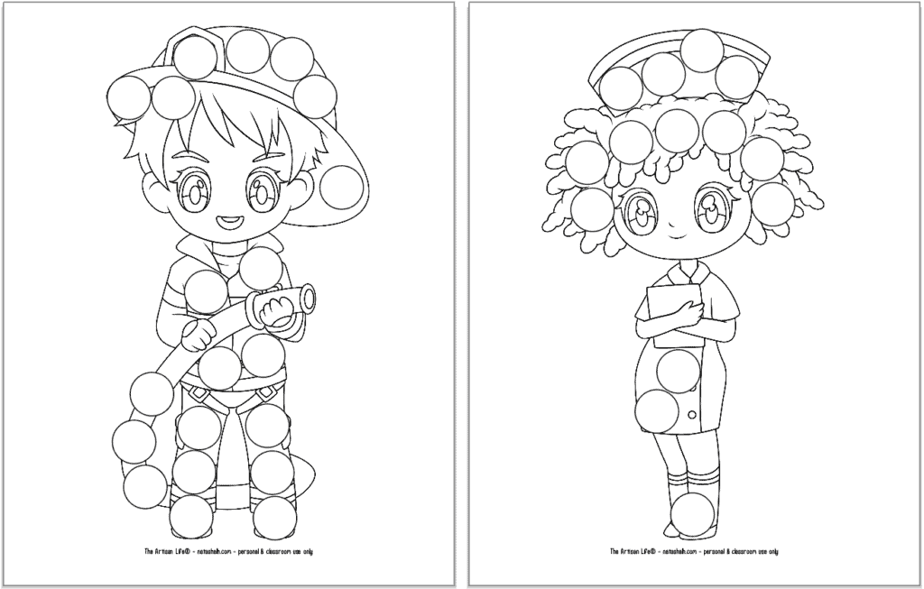 A preview of three printable first responder dot marker coloring pages. Each page has a large first responder with circles to color in with dauber markers. The page on the left has a firefighter. The page on the right has a nurse.