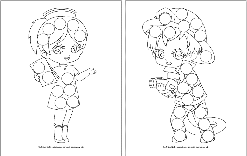 A preview of three printable first responder dot marker coloring pages. Each page has a large first responder with circles to color in with dauber markers. The page on the left has a nurse. The page on the right has a firefighter.