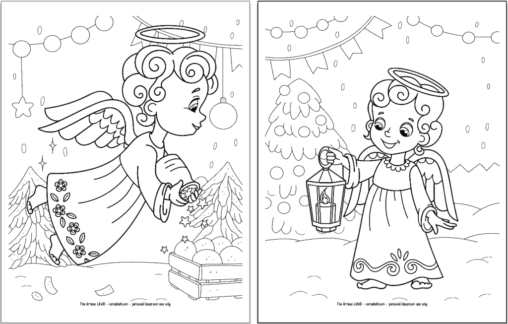 A preview of two printable Christmas angel coloring pages for kids. The angel on the left is flying and sprinkling stars. The angel on the right is carrying a candle lantern.