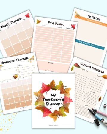 A preview of six pages from a printable Thanksgiving planner. pages include a cover page, November planner, weekly planner, food budget tracker, cooking schedule, and to do list.