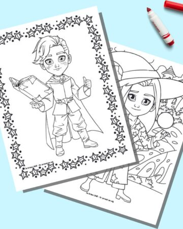 A preview of two child wizard coloring pages for kids. The boy wizard in front is holding a book. The girl in back has a crystal ball.
